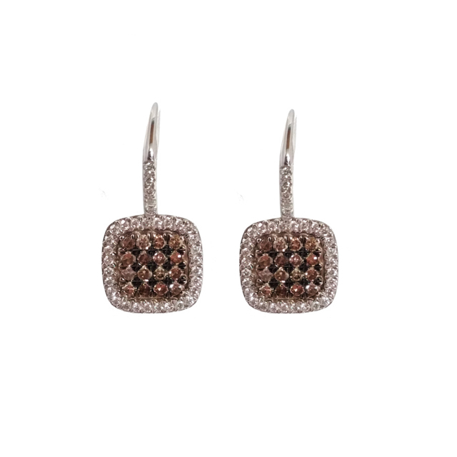 Chocolate And White Diamond Halo Square Drop Earrings Marquis Jewelers Newton Ma