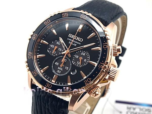 Seiko Core Men S Black Rose Gold