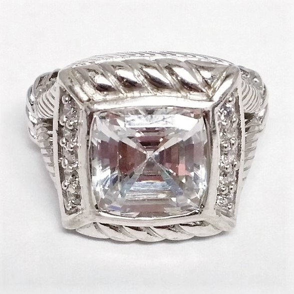 Judith Ripka Cubic Zirconia And Sterling Square Cable Ring