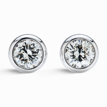 forever round studs in solitaire brilliant diamond set earrings bezel diamonds index earring