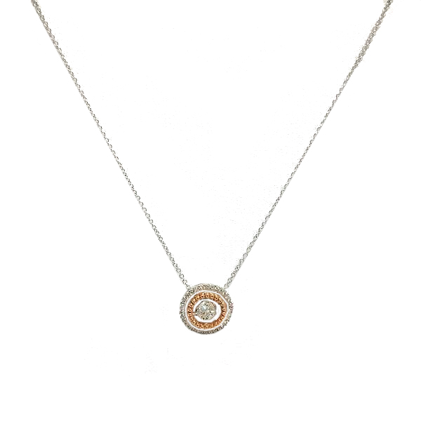 Dancing diamond and two tone gold circle pendant necklace aloadofball Images