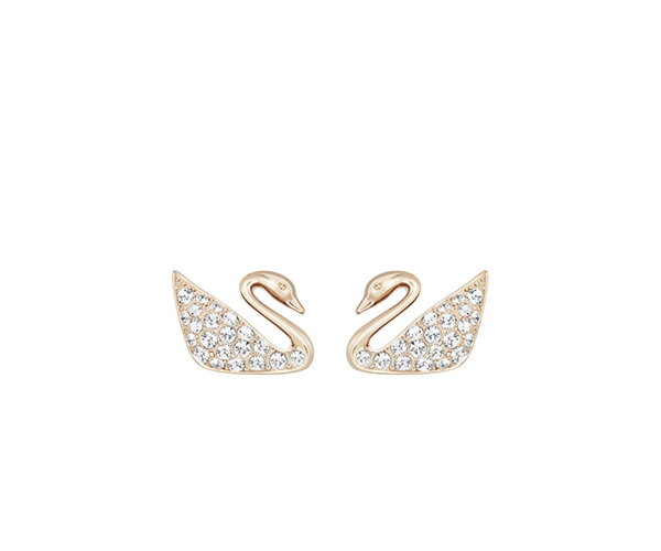 Swarovski Swan Logo Crystal And Gold Stud Earrings