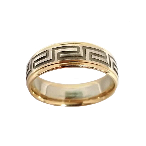 Men S Two Tone Gold Greek Key Wedding Band Marquis Jewelers Newton Ma