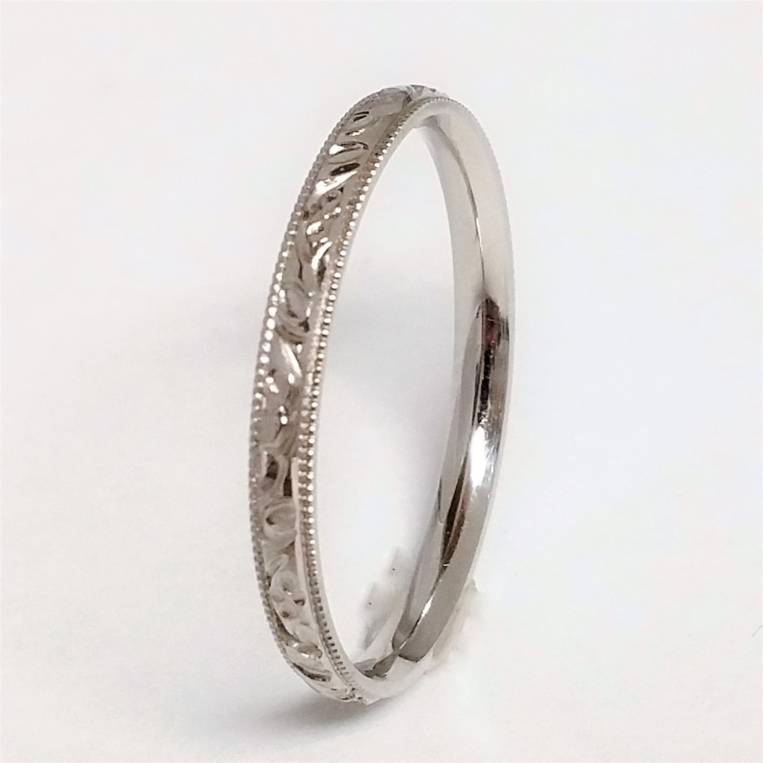 plain engraved platinum pin dainty antique thin bands art band wedding deco dec s