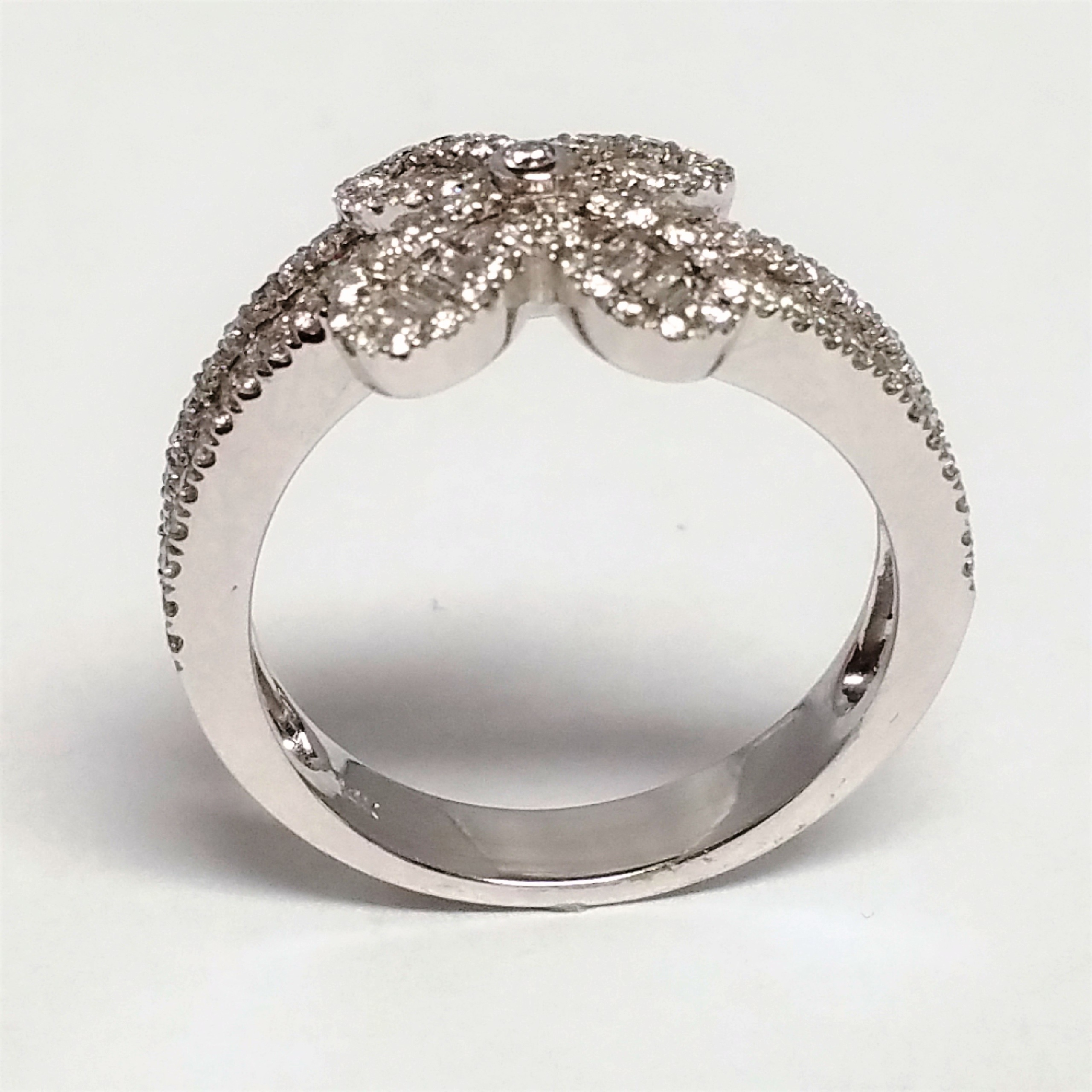 Baguette And Round Diamond Flower Ring