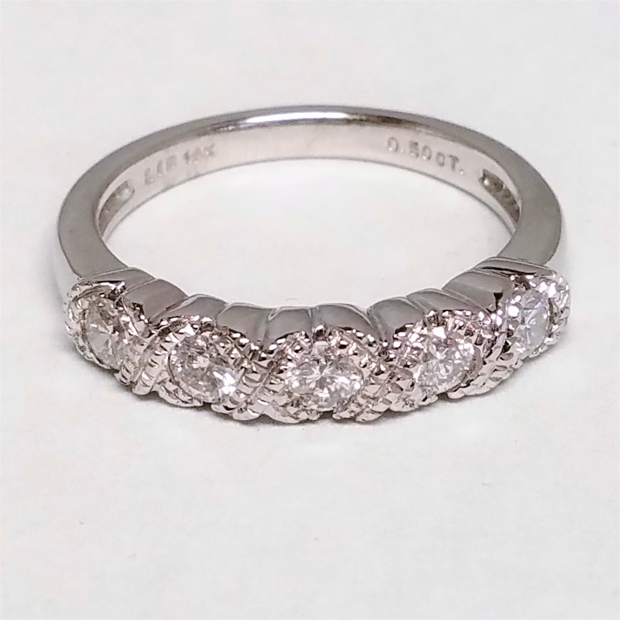 Crossed Wedding Bands.Diamond And Criss Crossed Milgrain Band Marquis Jewelers Newton Ma
